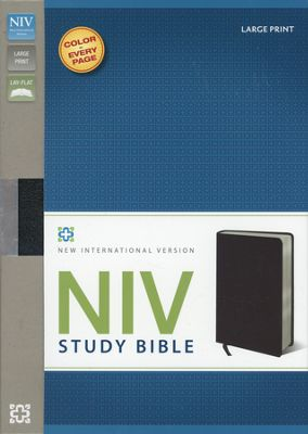 NIV Study Bible Large Print Black Bonded Leather