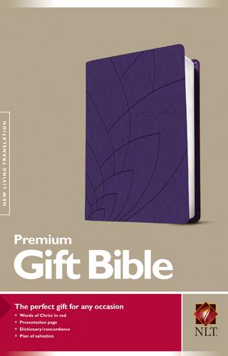 Premium Gift Bible NLT TuTone Purple Petals Leatherlike