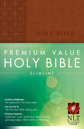 Premium Value Holy Bible Slimline NLT Leather like Brown